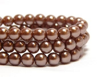 6mm Cocoa Glass Pearls, 6mmCocoa Brown Beads, Light Brown Beads, Brown Pearls, Light Brown Glass Pearls, Brown Glass Pearls, T-95F