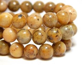 8mm Feldspar, Full Strand, 8mm Feldspath, Yellow Gemstones, Feldspar Gemstones, Feldspath Gemstones, 8mm Gemstones, Earthy Beads, B-16B