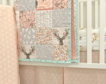 Little Oasis Custom Woodland Deer Crib Bedding; Shell & Gray collection. Choose what you need:sheet, skirt, blanket, changing pad, pillow.