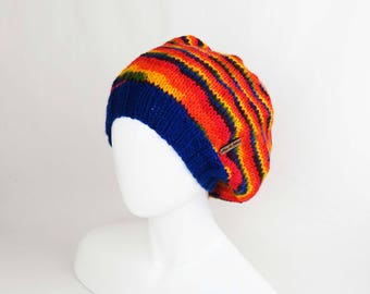 Rainbow Slouchy Hat - Hand Knit LGBT Pride Beanie, Knitted Slouchy Hat