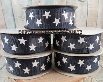 "One 5 yrd spool of 7/8"" blue grosgrain ribbon with white stars"
