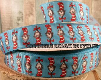 "3 yards of 7/8"" Cat in the Hat grosgrain ribbon"