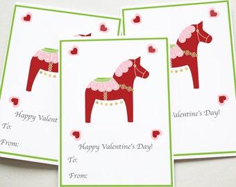Printable, Valentine Printables, Valentine's Day, Valentine, Red Dala Horse Valentine