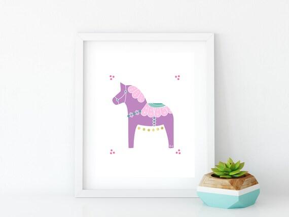 Purple Dala Horse Art Print, Instant Digital Download