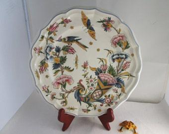 Vintage Gien China Corne D'Abondance Dinner plate French china plate Gien China plate bird plate butterfly plate Horn of Plenty plate