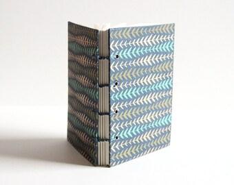 Blank Book, Small Notebook, Mini Sketchbook, Journal Diary, Handbound Book, Metallic Print, Modern Print, Navy, Gold, Coptic Stich, Lay Flat