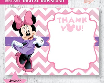 Minnie Mouse Pink and Purple Chevron Thank You.Minnie Mouse Birthday Thank You. Blank Minnie Mouse Thank You Cards.  Pink and Purple Minnie