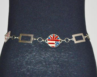Vintage Metal UK and US Enamel Decorative Belt in Geometric Shapes: Rectangles and Circles. 42 Inches