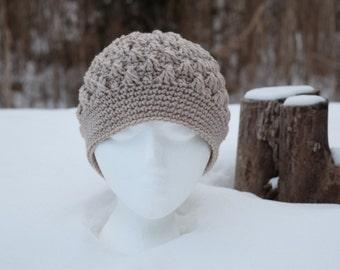 Crocheted hat - popcorn stitch; no brim/taupe/beige/tan