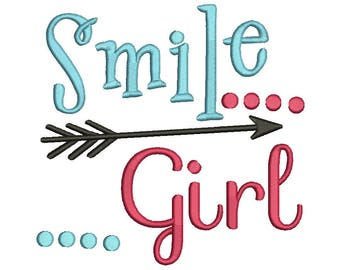 Smile girl Embroidery Design ,Embroidery Saying,Embroidery Designs ,Instant Download 8 Formats,Machine embroidery, Baby embroidery