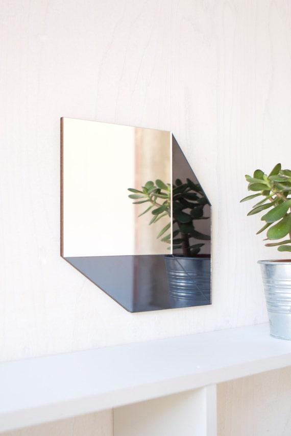 Gris et argent miroir moderne g om trique cube for Miroir gris argent