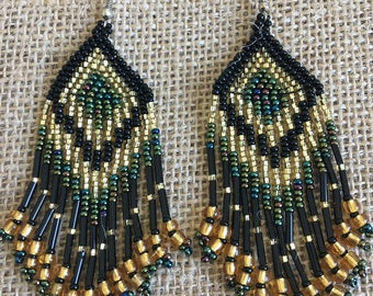 Gold Green and Black Beaded Pyramid Earrings