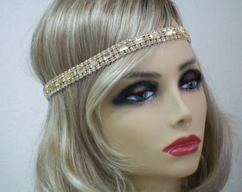 Champagne 1920s headband, Flapper headpiece, Great Gatsby headpiece, Rhinestone headband, 20s hair accessories, Roaring 20s dress, Jazz Age