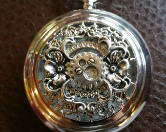 One of a Kind, Classic style, Silver tone, Floral Filigree and gear, Quartz, Steampunk Pocket Watch FREE SHIPPING