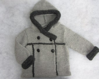 Hand knit shearling style hooded baby coat made of natural wool and alpaca yarn. Size 12-18 months.