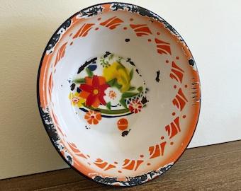Yamata Enamelware Bowl; Orange Yamata Enamel Bowl with Chippy Finish; Japanese Enamelware