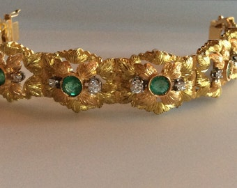 18k Emerald and Diamond Bracelet