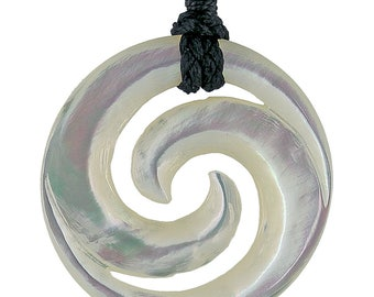 Hand Carved Nacre Mother of Pearl Double Spiral Koru Necklace (white)