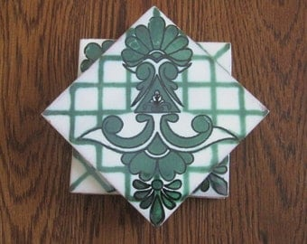 Green Mexican Folk Art Tile Drink Coasters