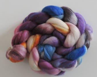 merino silk,Evening Sun, handpainted fiber for spinning, .4,2oz
