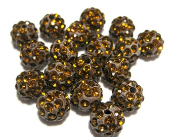 Dark Amber Polymer Clay Rhinestone Beads Pave Disco Ball Beads - Grade A 10mm
