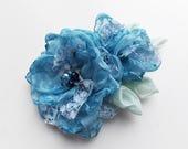 Clip-Brooch Fabric Flower, Wedding Flowers, Fabric Jewelry, Chiffon Wedding Flower, Fabric Rose, Rose Flowers, Wedding Bridal Clip-Brooch