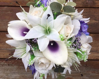 Ivory and Purple Rose, Lilac and Calla Lily bouquet for weddings or dances