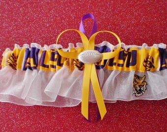 Louisiana State University Fabric Wedding Bridal Garter Keepsake White Prom Double Heart and Football Charm
