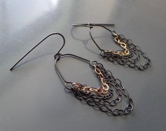 Chain Drop Hoop Earrings, Oxidized Sterling Silver Dangle Earrings, Mixed Metal Multi Strand Earrings, Layered, Lacy, Gold, Chandelier, Boho