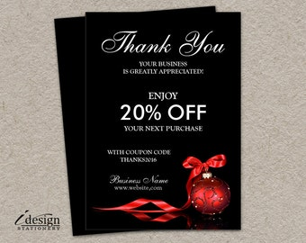 Elegant Christmas Shipping Insert Cards   Printable Thank You For Your Order Or Purchase Packaging Inserts   Enclosure Coupon Code Cards