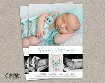 Baby Boy Birth Announcement Photo Card | Printable Newborn Announcement Cards With Dreamcatcher | DIY Baby Announcements With Dream Catcher