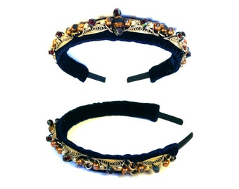 GILDED-MANE Crown Headband w/ Antique Silver-Tone Trim and Glass Beads