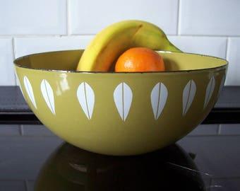 "Vintage Cathrineholm Lotus Leaf Green Medium Bowl 8"" Cathrine Holm"