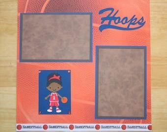 Basketball Scrapbook Page - Basketball Scrapbook Layout - 12 X 12 Scrapbook - Girl Basketball - Cricut Basketball - Hoops - Sports Scrapbook