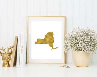 New York gold foil print/ NY state print/ state art/home state print/ home print/ state print/NY art/NY print/ custom state art