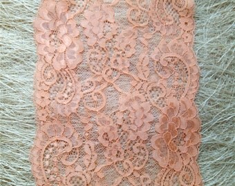 Coral Stretch lace,  Lingerie lace,  wide elastic lace trim,  lace tube top, lace Bandeau Bra, lace tops, by the yards