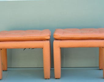 Pair Milo Baughman(?) Parsons style Upholstery benches / stools in a red/white fabric