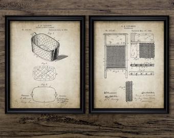 Laundry Patent Print Set Of 2 - Vintage Laundry Basket - Washboard Design - Home Decor - Set Of Two Prints #2248 - INSTANT DOWNLOAD
