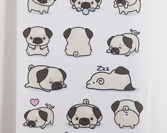 Mini Sticker Sheet  - Pug Dogs
