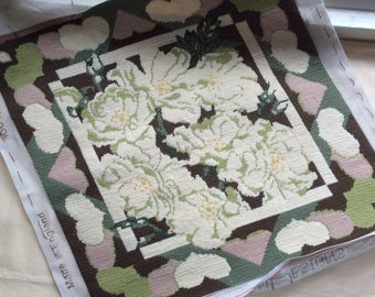 Tapestry cushion, picture, seat pad project, to complete, compled floral tapestry