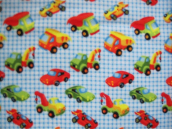 Tummy Time/All ages/Waterproof Bed Pads - Turquoise checks with vehicles