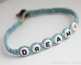 CLEARANCE SALE - Dream Bracelet with Red and White Heart Bead, Hand Knotted Macrame Hemp Jewelry