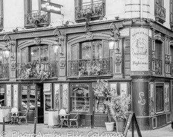 Paris Photography, Paris Print, Paris Decor, Paris restaurant in black and white; located along the Seine