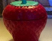 Glass STRAWBERRY, VINTAGE Trinket/Jewelry Box, Strawberry Container w/Lid