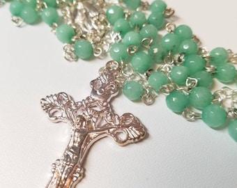 Creamy Green Semi-Precious Gemstone Rosary With Silver Plated Cross