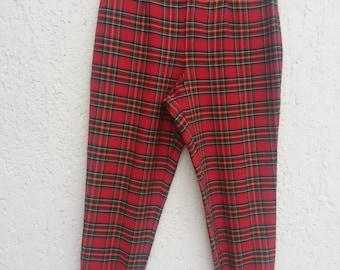 Vintage 80s Red Plaid Stretchy Tartan Pants Large Size Pants