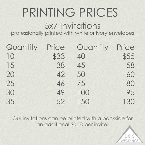 Printed invitations printing prices printed 5x7 for Wedding invitation printing prices