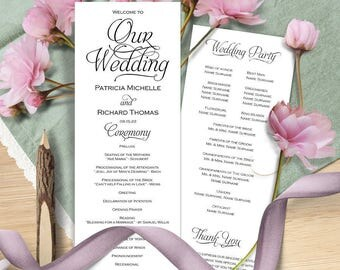 Wedding program template, Wedding program instant download, Printable wedding program, wedding program printable, editable text, DIY