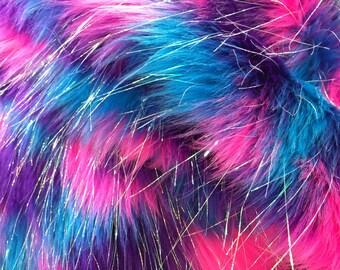 Turquoise tie dye jacquard faux fun fur with metallic threads -yard