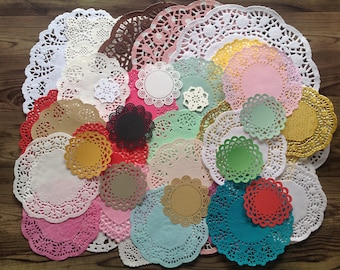 Doily destash, mixed doilies, set of 50 mixed doilies, variety pack, paper doilies, coloured doilies